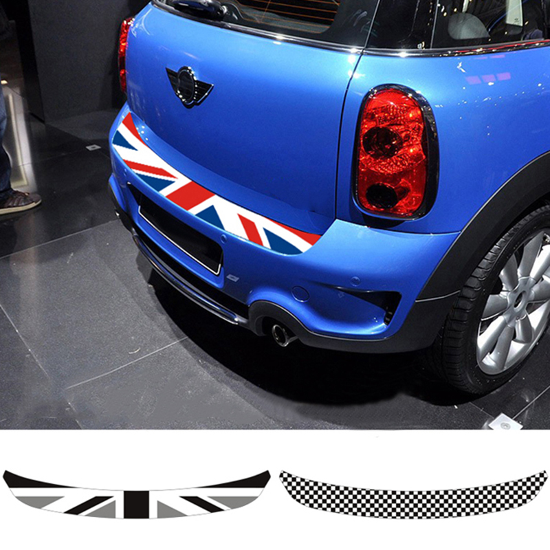 Union Jack Car Rear Bumper Decoration Sticker Trunk Load Edge Protection Decal For Mini Cooper R55 R56 R60 F55 F56 Car-Styling 1pair union jack car side door skirt decal sticker decor for mini cooper f54 f55 f56 f60 r55 r56 r60 r61 car styling accessories