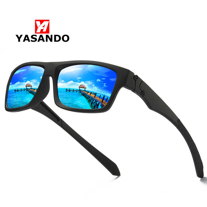 Sunglasses Men Women 2019 YASANDO Polarized Lens Mirror Square Frame Outdoor Sport Driving Fishing UV400 Male Eyewear 18330