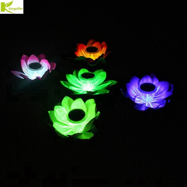 Kingoffer New Powered Lotus Flower Outdoor Solar Light Garden Pool Floating Solar Garden Wish Light for Pond Fountain Decor