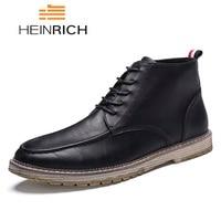 HEINRICH Big Size 38 47 Autumn Winter Men Boots Leather Men Shoes Casual Fashion Lace Up Ankle Boots Men Botas Hombre Cuero