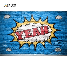 Laeacco Brick Wall Cartoon Graffiti Portrait Scene Photography Backgrounds Seamless Photographic Backdrop Props For Photo Studio seamless vinyl photography backdrop love story wall empty room computer printed children backgrounds for photo studio cm 1665
