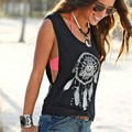 Speed sell through amazon feather spring disc printing design leisure blouse vest