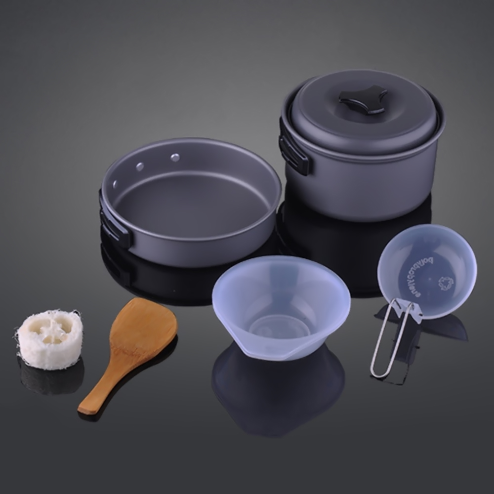 High Quality Portable 8pcs/set Backpacking Cooking Picnic Non-stick Pots Pan Bowls Outdoor Camping Hiking Cookware Kit color picnic set