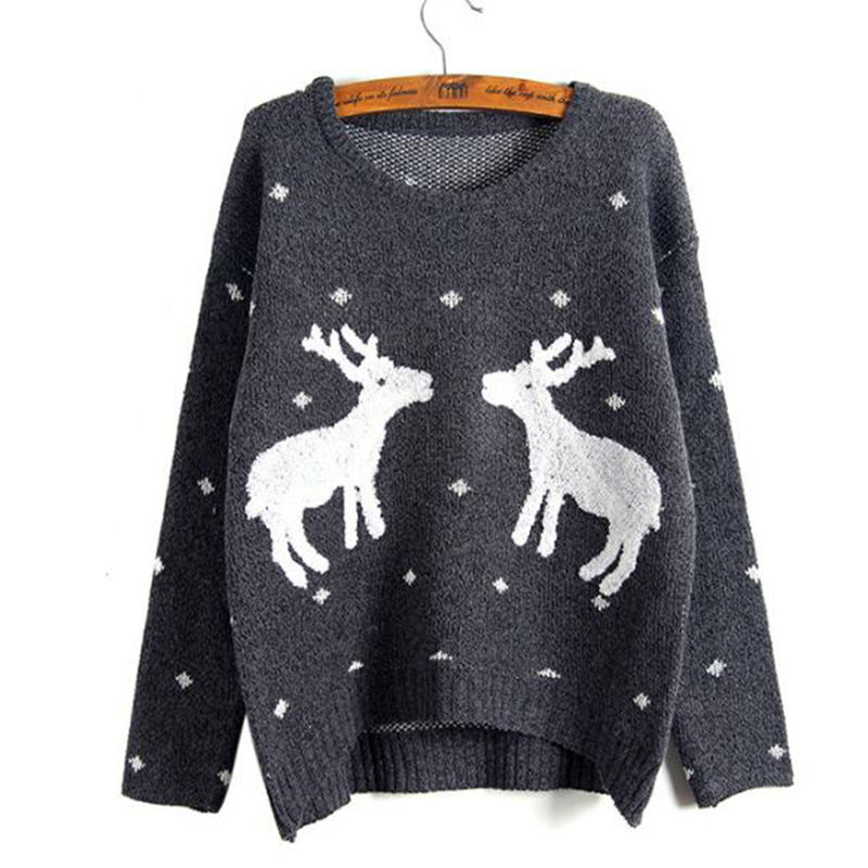 Rihschpiece Oversize Christmas Sweater With Deer Winter Jumper Pullover Women Sweaters And Pullovers Knitted Sweater RZF783