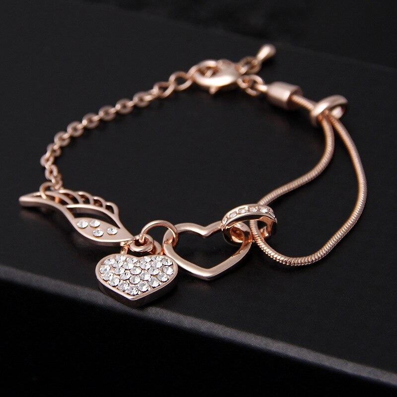 Nuovo di Modo della Rosa di Colore Dell'oro Del Cuore di Amore Braccialetti Per le donne regalo di compleanno della ragazza ali di Angelo Fortunato bracciali e braccialetti