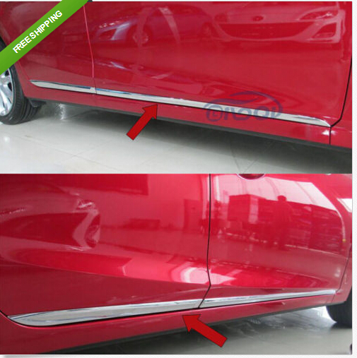 Chrome Body Side Door Moulding Trim Overlay cover For 2014 Mazda 3