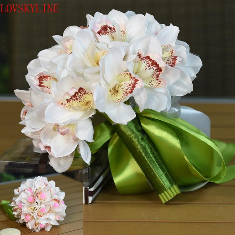 Romantic Wedding Bouquet With Ribbon Artificial Magnolia White