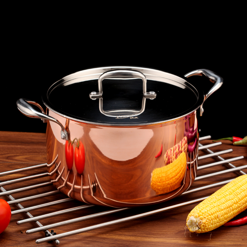5500ml Cookware Noodle Pot 3-ply Copper Cooking Casserole