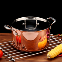 5500ml Cookware Hotpot Stock Pots Cookware Noodle Pot 3 ply Copper Inox Cooking Casserole