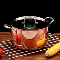 5500ml Cookware Hotpot Stock Pots Cookware Noodle Pot 3 ply Copper Inox Cooking Casserole