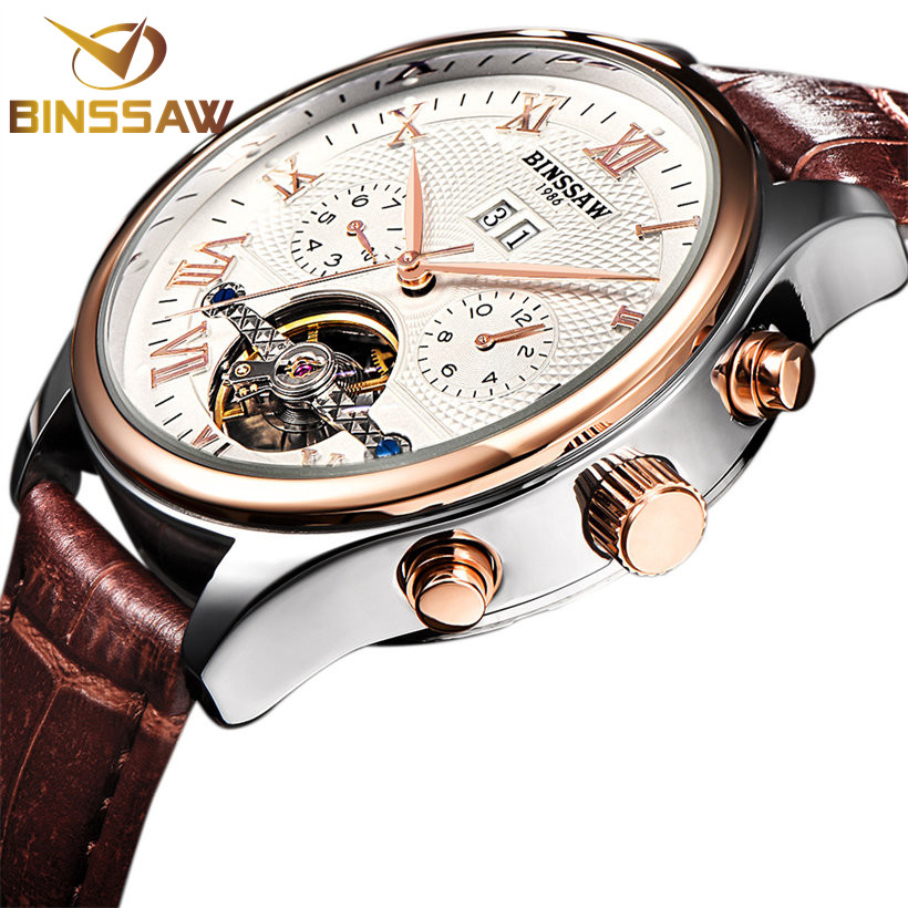 BINSSAW Brand Luxury Mens relogio Automatic Watches Mechanical Leather Watch Tourbillon Clock Business Wristwatch Reloj Hombre mens watches top brand luxury 2017 aviator white automatic mechanical date day leather wrist watch business reloj hombre