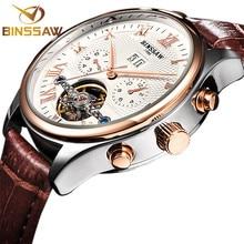 BINSSAW Brand Luxury Mens relogio Automatic Watches Mechanical Leather Watch Tourbillon Clock Business Wristwatch Reloj Hombre