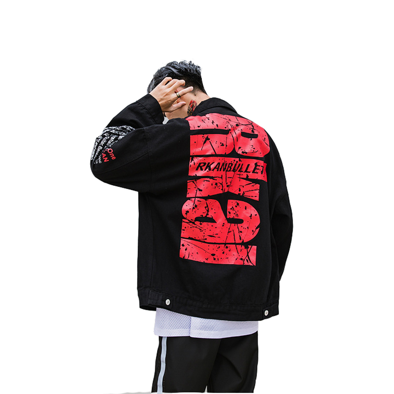 2018 Autumn Black letter Single Breasted Cotton Hip Hop Denim Jacket Men Epacket Suppliers China(China)