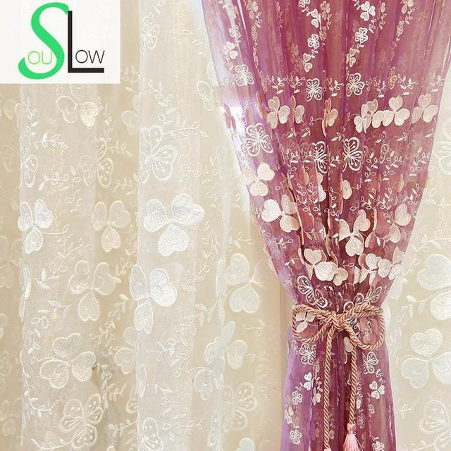 [Slow Soul]New White Purple Embroidered Curtain Cloth Embossed Screen  Floral Curtains And Tulle