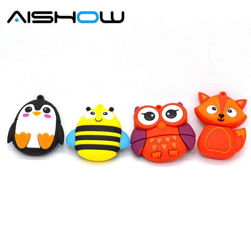 cute penguin owl fox pen drive cartoon usb flash drive pendrive 4GB/8GB/16GB/32GB U disk animal memory stick gift
