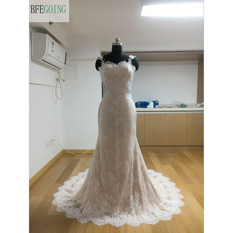 Ivory Tulle Lace  Appliques Beading  Sweetheart  Floor-Length Mermaid/Trumpet Wedding Dresses Chapel Train Custom Made