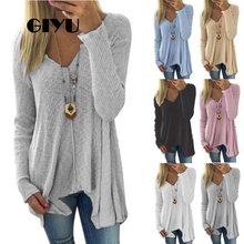 GIYU Irregular Ribbed Solid T Shirt Women Long Sleeve V Neck Tee Casual Basic Female Spring Autumn camiseta mujer tablet case for samsung galaxy tab 4 7 0 sm t230 t235 tab a t280 t285 sm t285 case movie star wars cover stand coque para capa