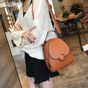 Image 3 - Mochila de couro feminina, nova mochila de couro feminina multifuncional com toque suave
