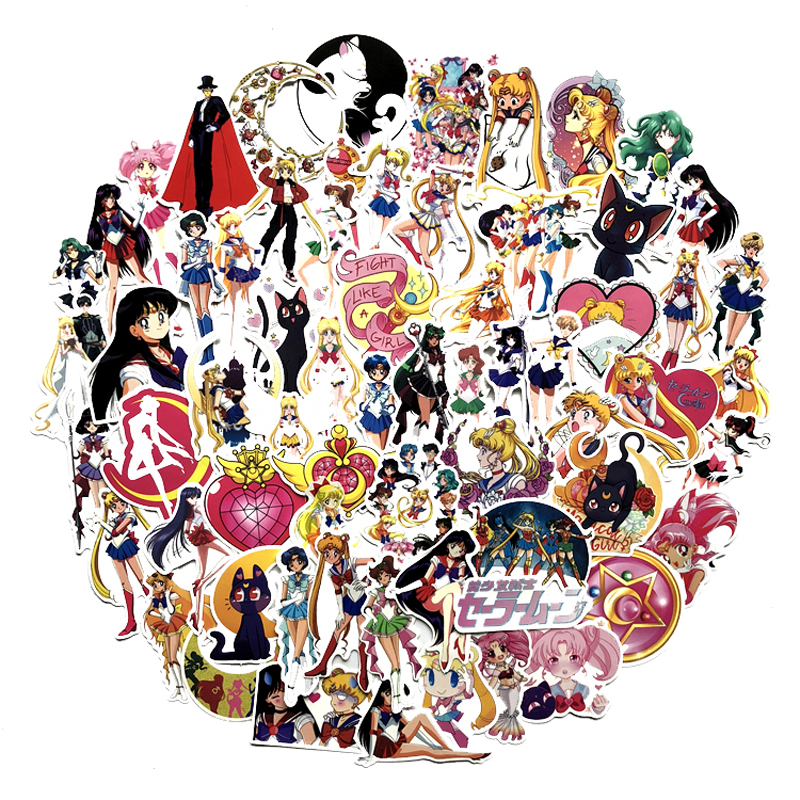 75pcs/pack Anime Sailor Moon Sticker Cartoon Girl Scrapbook Decor PVC Stationery Stickers School Office Supply