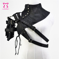 Black Unisex Leather Steampunk Rivet One Shoulder Armor Arm Warmer Stand Collar Gothic Clothes Punk Corset Accessories Plus Size
