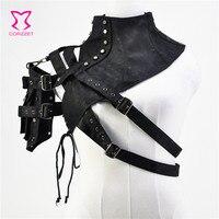 Black Unisex Leather Steampunk Rivet One Shoulder Armor Arm Warmer Stand Collar Gothic Clothes Punk Corset Accessories Plus Size