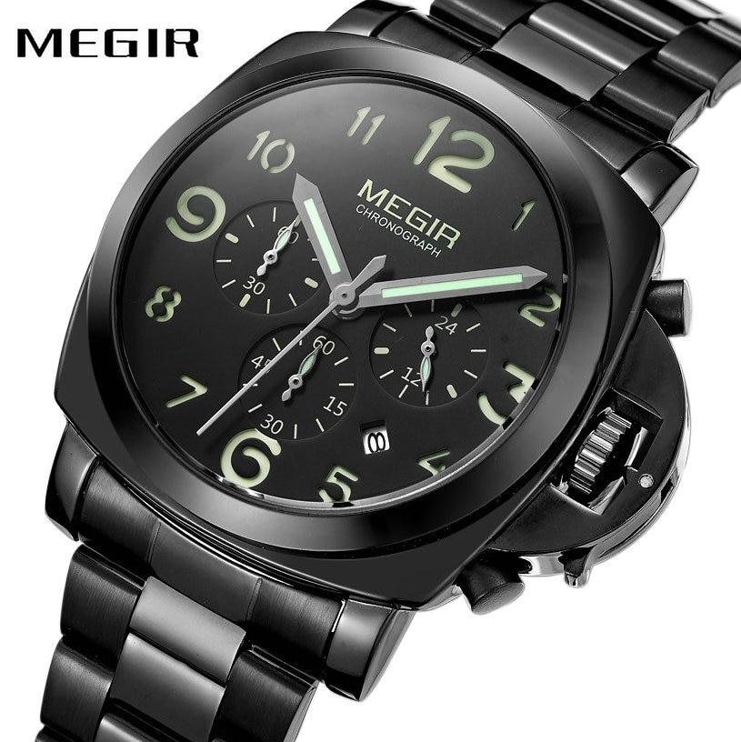 MEGIR Fashion Casual Quartz Watch Men stainless Steel Strap 24H Date Chronograph Top Brand Luxury Multifunction Wrist Watches все цены