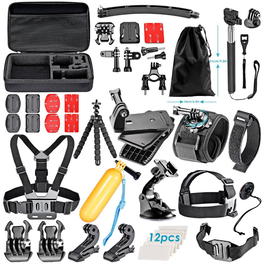 4 5 6 SJ4000 5000 6000 DBPOWER AKASO VicTsing APEMAN WiMiUS QUMOX Lightdow and Sony Sports DV and More Neewer 14-in-1 Outdoor Sports Action Camera Accessory Kit for GoPro Hero Session//5 Hero 1 2 3 3