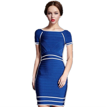 Claire 2016 Summer Clubwear Party Dress Blue Short Sleeve Ruffles Victoria Beckham Elegant Mini Dress HL Bandage Dresses L430