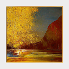 100% Hand Painted Abstract Golden Sunset Painting On Canvas Wall Art Adornment Pictures For Live Room Home Decor