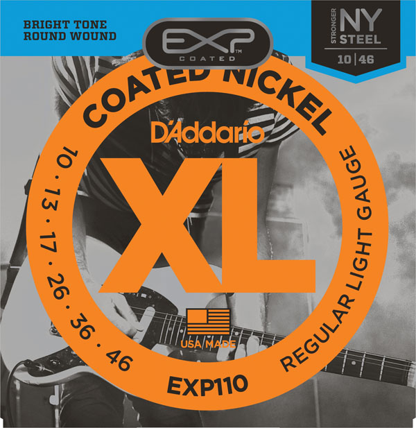 D'Addario Coated Nickel Round Wound Electric Guitar Strings, Light / Super Light EXP110 EXP120 d addario daddario exl110 american made nickel wound electric guitar strings regular light 10 46