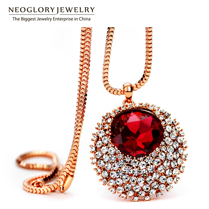 Neoglory Rhinestone Rose Gold Color Fashion Chain Long Pendant Necklaces For Women Crystal Jewelry 2018 New LN1