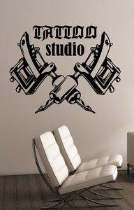 Image 1 - Tattoo machine logo vinyl wall decal tattoo studio salon window wall art decoration sticker tattoo salon room decoration 2WS01