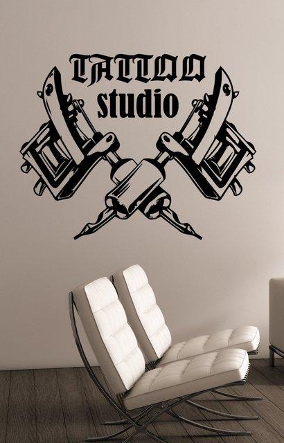 Tattoo machine logo vinyl wall decal tattoo studio salon window wall art decoration sticker tattoo salon room decoration 2WS01