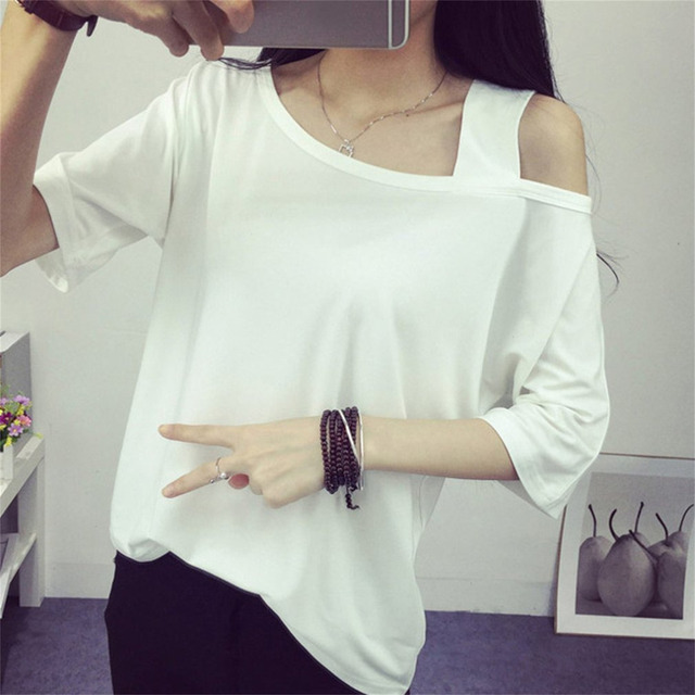 c1d3b0a4 2017 New Women Off Shoulder T-Shirts Loose Sexy Strapless Solid Color TShirt  Simple Casual Sweet Girls Shirt Tops women Crop top