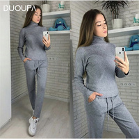 DUOUPA Winter Knitted Warm Suit Solid High Collar Sweater Sweater Pants Loose Style Knit Two piece Sets FREE SHIPPING
