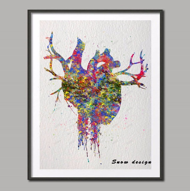 Original Watercolor Heart Anatomy wall art canvas painting Abstract ...