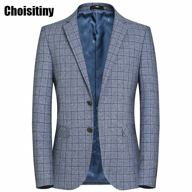 New 2018 Brand Casual Grey Plaid Blazer Jacket Men Korean Trend Suit Male Wedding Dress Slim Fit Blazer Coat Man