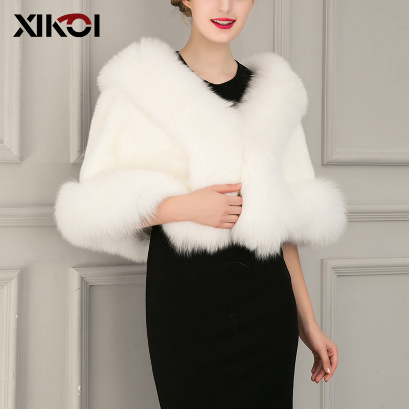 XIKOI Women Cape Coat For Party Wedding Autumn Winter Faux Fur Poncho Shawl Women Vest Coats Women Winter Shawls Thick Capes