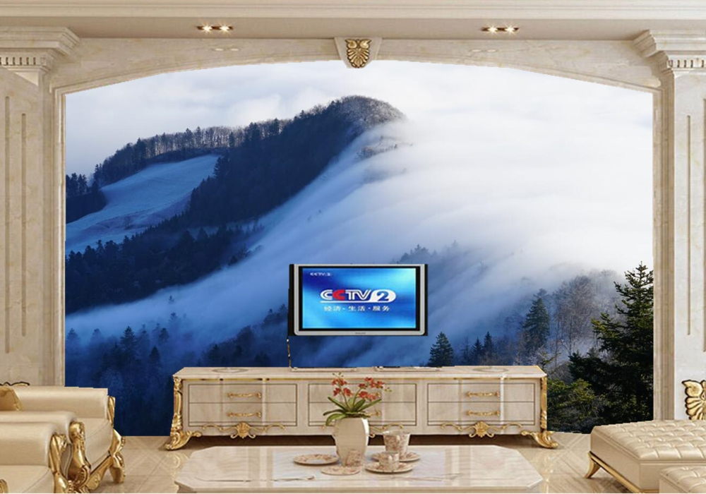 papel de parede Forests Mountains Fog Nature photo wallpaper,restaurant living room TV background sofa wall bedroom bar 3d mural custom photo wallpaper bare concrete 3d mural for living room bedroom restaurant kitchen wall waterproof pvc papel de parede