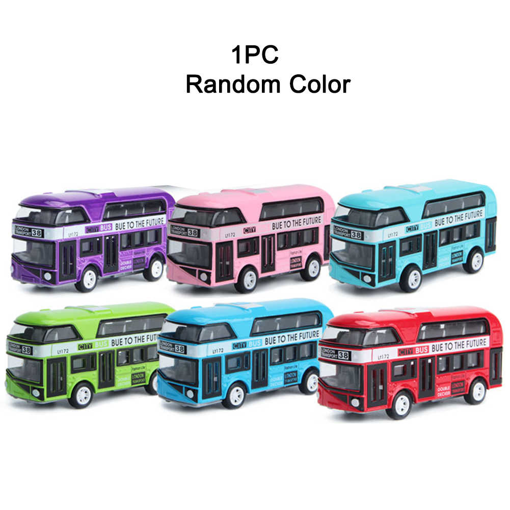 1PC Alloy Car Model Pull Back Alloy Children Car 1:43 Simulation London  Bus 10*3*4.5cm distribute randomly