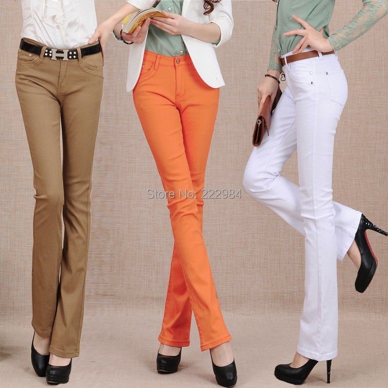 2019 Spring And Autumn New Candy-colored Plus Size Cotton Brand Thick Female Women Girls Stretch Flare Pants Jeans Clothing
