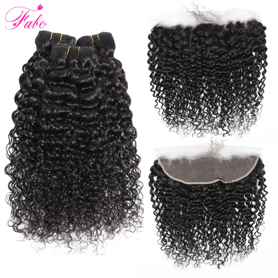 FABC Hair Brazilian Water Wave Bundles With Closure Non Remy Hair Lace Frontal With Bundles Deal