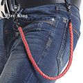 "25"" Long 5 Colors PU Belt Chain Men Trouser Jeans Key Chain Wallet Chain Hook Faux Leather Braided Chain Free King J52"