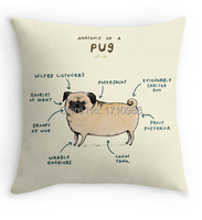 Anatomy of a Pug  (two sides printing) Pillow Cases Home Room  for 12x12 14x14 16x16 18x18 20x20 24x24 inch