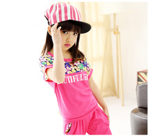 Фотография Summer  Clothing Sets for Girls  Children Clothes Casual Short T-Shirt+Pants Girls Suits 3-12Y