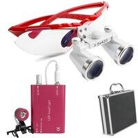 Vermelho dental médico cirúrgico lupas binoculares 3.5x 420mm cabeça de vidro óptico lupa clipe de luz + caixa de alumínio|binocular loupes|glass loupe|dental surgical -