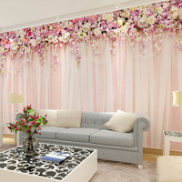 도매 3d 벽 벽화 웨딩 룸 천으로 커튼 3d 벽화 소파 배경 3d 벽 꽃 벽화 침실