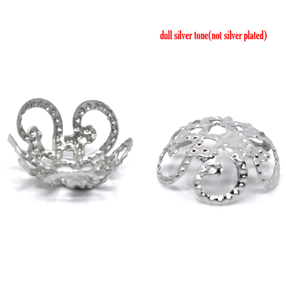 DoreenBeads Alloy Beads Caps Flower Silver Color (Fits 10.0mm Beads) Flower Hollow Pattern 10.0mm( 3/8