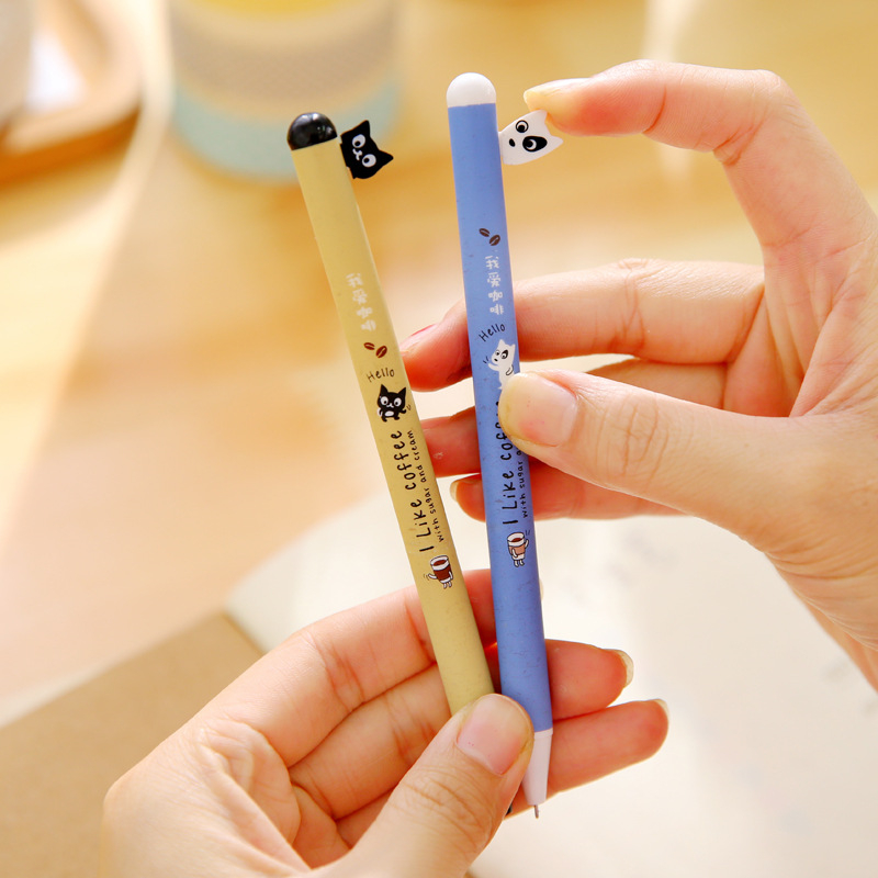 0.5 mm Novelty Black Cat And White Dog Press Gel Pen Ink Marker Pen School Office Supply Escolar Papelaria 2Pcs