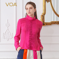 VOA Heavy Silk Crepe Georgette Plus Size Women Tops Vintage Rose Red Office Lady T Shirt Long Sleeve Casual Slim Tee BSX02201